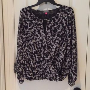 Vince Camuto faux wrap blouse with sheer sleeves